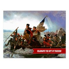 """CELEBRATE THE GIFT OF FREEDOM. Independence Day, 4th of July Business / Corporate Postcards. """"Washington Crossing the Delaware"""", oil painting, circa 1851. Artist: Emanuel Leutze (1816–1868). Matching cards, postage stamps and gift products available in the Holidays / 4th of July Category of the oldandclassic store at zazzle.com"""