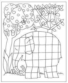 Kleurplaat olifant. Geef de vakjes van de olifant verschillende kleuren voor een gezellig kleurrijk effect