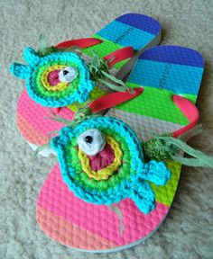 Crochet Rainbow Fishy Flip Flops