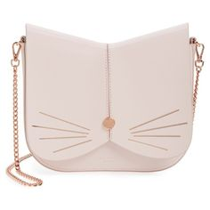 Women's Ted Baker London Cat Leather Crossbody Bag (3,495 MXN) ❤ liked on Polyvore featuring bags, handbags, shoulder bags, baby pink, cross-body handbag, purse crossbody, leather crossbody purse, pink leather handbags and leather crossbody