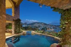 Pool and spa with a city view of Laguna Beach.  http://www.estately.com/listings/info/168-emerald-bay--2