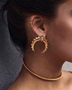 Jewels: crescent moon earrings gold earrings necklace gold necklace gold jewelry jewelry choker