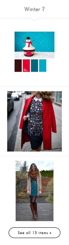 """""""Winter ❄"""" by zaiee on Polyvore featuring home, home decor, dresses, red floral print dress, flower pattern dress, flower print dress, sheath dresses, botanical dress, accessories and hats"""