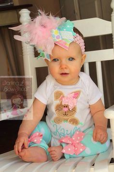 Baby Girl Easter Outfit As Seen in VOGUE - Hippity Hop - Easter Bunny bodysuit, leg warmers and Over The Top bow -- pastel aqua, pink, mint by DarlingLittleBowShop on Etsy https://www.etsy.com/listing/181063286/baby-girl-easter-outfit-as-seen-in-vogue