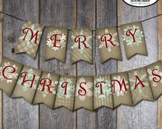 Christmas Banner - Holiday Banner - Merry Christmas Banner - Merry & Bright Snowflake - Printable