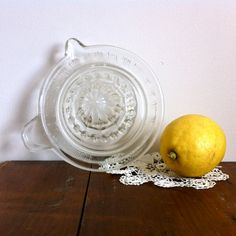 Vintage lemon juicer clear depression glass by CatandtheBird
