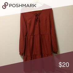 Red Flowy Tiered Dress Super great for the fall weather, especially with the Sperry black boots! Only worn once so in great condition. Sleeves can be worn down or bunched at the elbows.  Tags zara topshop free people urban outfitters. JustFab Dresses Long Sleeve