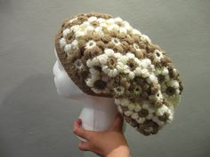 Puff Flower Slouch Hat - Left Handed Crochet Tutorial, My Crafts and DIY Projects Crochet Puff Flower, Crochet Cap, Crochet Beanie, Crochet Flowers, Free Crochet, Crocheted Hats, Crochet Stitch, Crochet Crafts, Crochet Headband Tutorial