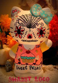 Hello Kitty Dia de los muertos sugar skull bank by shabbyloco, $85.00