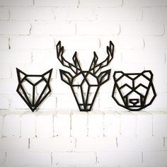 Laser cut woodland heads / geometric / deer / fox / bear /