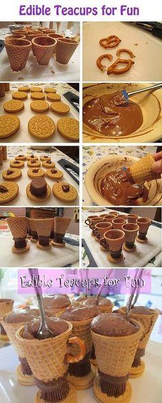 Copas de galleta para helado ingenioso!!!Diy Projects Edible tea cups DIY diy food homemade food party diy