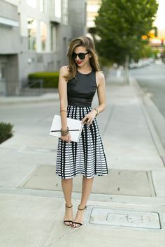 A-line skirt and black faux leather crop top
