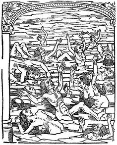 Infernal punishment for the Seven Deadly Sins: the envious are immersed in freezing water. From Le grant kalendrier des Bergiers, printed by Nicolas le Rouge, Troyes, 1496.