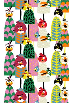 """""""Forest"""" cm - Angry Birds Interior Collection by Vallila Vallila Interior Finland White Books, Fabulous Fabrics, Angry Birds, Vintage Prints, Tigger, Finland, Print Patterns, Textiles, Kids"""