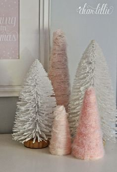 Dear Lillie: The Girls' Christmas Bedroom Christmas Bedroom, Pink Christmas, Winter Christmas, Christmas Crafts, Christmas Decorations, Christmas Trees, Dear Lillie, Bottle Brush Trees, Yule