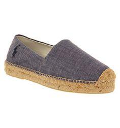 Ralph Lauren Mooretown Espadrille Blue Chambray Canvas - Sandals