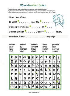 Pasen - Zoek de woorden in de woordzoeker & schrijf woorden op de stippellijnen. Door wat Jezus voor jou heeft gedaan, mag jij nu een kind van God zijn.  www.bijbelidee.nl