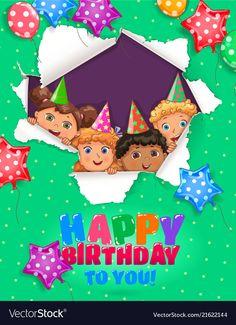 Birthday greeting card vector image on VectorStock Birthday Greeting Cards, Birthday Greetings, Happy Birthday, Adobe Illustrator, Vector Free, Balloons, Web Design, Social Media, Christmas Ornaments