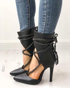 Point Toe Chains Lace-up Thin High Heels - Boots and Booties - Schuhe Schnür Heels, Hot Heels, Strap Heels, Stiletto Heels, Sexy Heels, Ankle Straps, Women's Shoes, Cute Shoes, Me Too Shoes