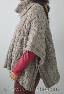 #163 Cable Love Cowl Neck Poncho