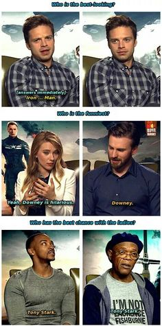 The Captain America: The Winter Soldier cast discuss RDJ's many qualities.
