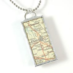Flint Map Pendant Necklace by XOHandworks on Etsy