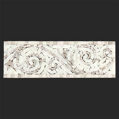 Alya Stone Tile- Oyster Gray - Arabescato Carrara Polished 4x12 Art Border