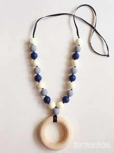 Blue White and Grey Teething Necklace/Nursing Necklace by CraftPeaceLove, $20.00 #cowboys inspired