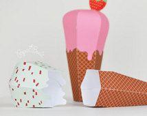 Ice Cream Favor Box - Ice Cream Cone, Ice Cream Scoops, Treat Box, Favor Box, Summer - Printable PDF - INSTANT DOWNLOAD by Paper Built