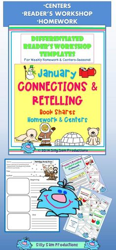 CONNECTIONS and RETELLING January Book Shares! Use for *Reader's Workshop *Centers *Homework! Great Comprehension Practice! Look for BOOK SHARES for Comprehension Skills for each month at Silly Sam Productions $