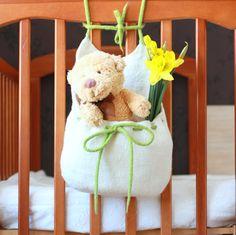 Hanging basket toys organizer felted bag white green by AgnesFelt,