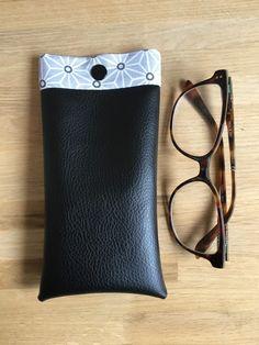 Étuis à lunettes similicuir noir et tissus japonais gris