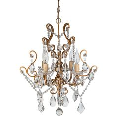 """- Dimensions: 15.5"""" (Length) X 15.5"""" (Width) X 17"""" (Height) - Authentic K9 glass crystal dangles and beads (NOT PLASTIC OR REGULAR GLASS) - 4 Lights, UL-Listed (Uses 25 Watt E12 light bulbs; compatibl"""
