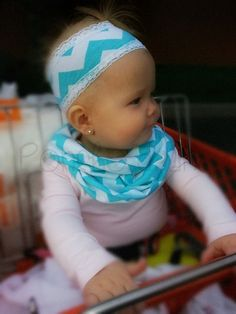 Poncho.Dean- Matching Set- CHEVRON INFINITY Scarf & Headband- Baby Toddler Kid Teen Scarves
