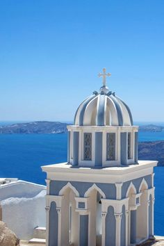Bell Tower in Fira, Santorini... Knock that cross off the top and this would be an awesome building.