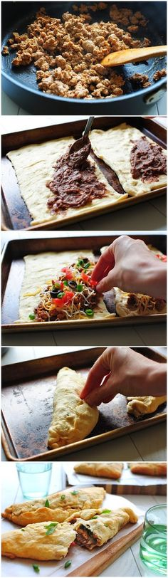 How To Cheesy Taco Crescent Calzones