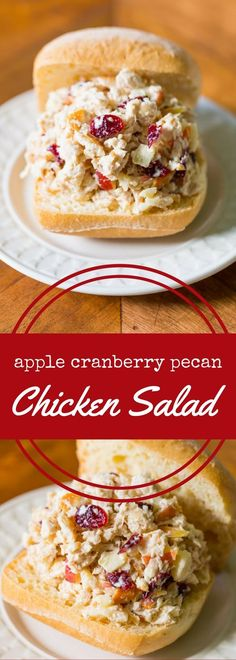 Classic chicken salad with apples, cranberries, and pecans, in mayonnaise. Chicken Salad With Apples, Pecan Chicken Salads, Chicken Salad Recipes, Cranberry Chicken, Salad Chicken, Recipe Chicken, Healthy Chicken, Sandwiches, Butter Chicken