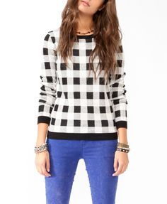 Checkered Knit Sweater #sweaterweather
