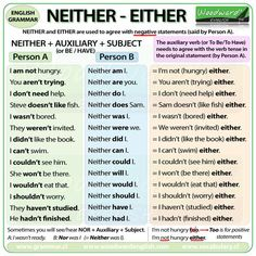 Neither + Auxiliary + Subject