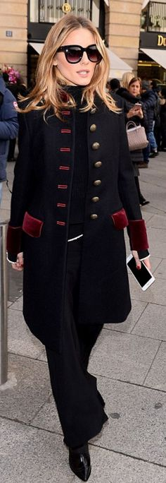Who made Olivia Palermo's blue coat and black sunglasses?