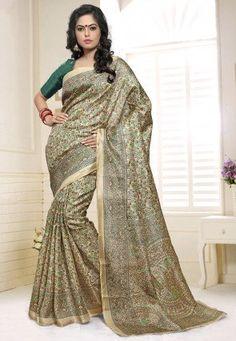 Madhubani Imprimé Art Silk Saree en Multicolor