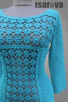 Seagreen handmade lace women day or coctail organic cotton crochet dress with This Pin was discovered by vic How to Crochet a Bodycon Dress/Top - Crochet Ideas Crochet Shirt, Cotton Crochet, Knit Crochet, Crochet Tops, Easy Crochet, Crochet Stitches, Crochet Bodycon Dresses, Black Crochet Dress, Dress Black