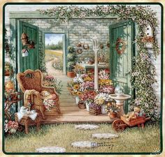 Gardens and Florals : Romantic Realistic Paintings by Janet Kruskamp - The Blossom Shoppe, Janet Kruskamp Paintings Wallpaper 13 Garden Painting, Garden Art, Green Garden, Art Floral, Realistic Paintings, Original Paintings, Art Paintings, Painting Wallpaper, Colouring Pages