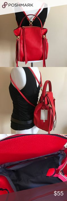Isabelle Vegan Convertible Backpack Great backpack that can be converted into a handbag. Beautiful red color. Spacious. Isabelle Bags Backpacks