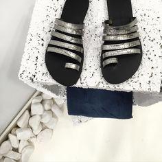 @glamazonsofficial #silversandals #stripes #flats #glamazons