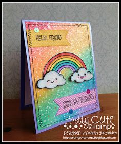Creative Love Affair: Pretty Cute Stamps March 2016 Sneak Peek! Rainbow stamp set using Distress Inks and watercolouring!
