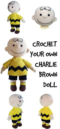 Charlie Brown crochet pattern. What an accurate looking amigurumi doll pattern! Love this pattern; looks so much like Peanut's Charlie Brown! #etsy #ad #charliebrown #charlesschulz #pdf #pattern #download