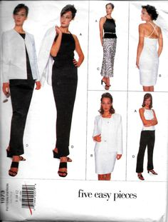 Vogue 1973 Five Easy Pieces Dress, Jacket, Top, Skirt And Pants Sewing Pattern Size 8, 10, 12 UNCUT by vintagepatternstore on Etsy