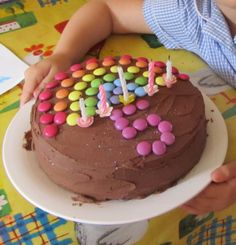 Simple rainbow birthday cake with smarties and glitter