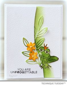 Check it out! Frog King Handmade Card at Technique Tuesday.